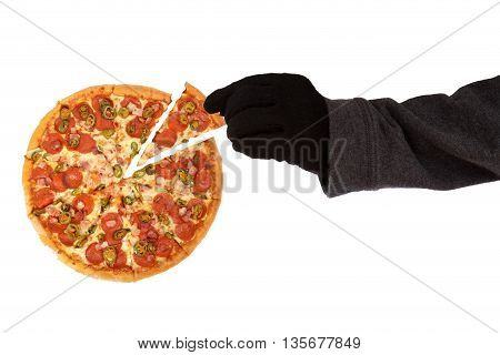 Hand with black glove is stealing a slice of pizza on white background