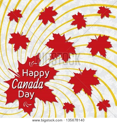 Happy Canada Day card. Red maple leaves. Vector illustration.