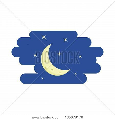 Night sky, crescent and stars icon in cartoon style on a white background