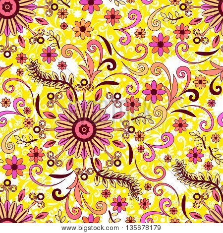 Abstract Seamless Background with Symbolical Colorful Patterns and Floral Ornaments. Vector