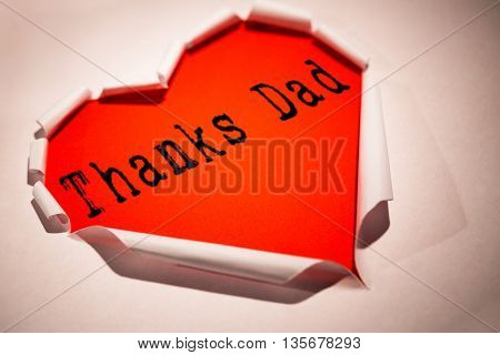 Word thanks dad against white background with vignette