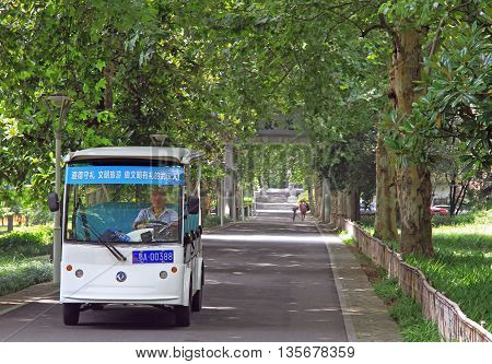 Wuhan China - June 23 2015: driver is returning for passengers in park of Wuhan China