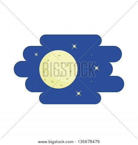 Moon and stars icon in cartoon style on a white background
