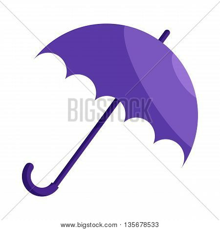 Violet umbrella icon in cartoon style on a white background