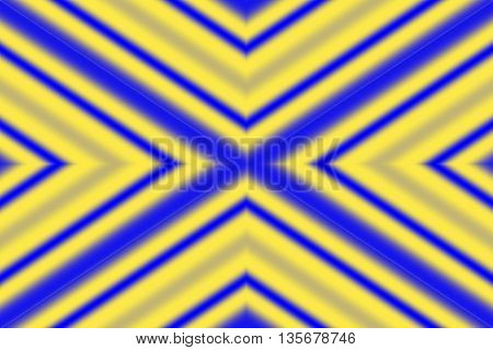 Illustration of an abstract yellow and blue x-pattern