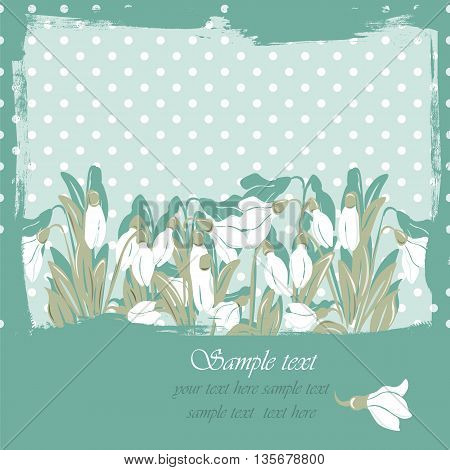 Snowdrop flowers Blossom spring card. Vector spring background.Calligraphic frame. Place for text. Green revive color