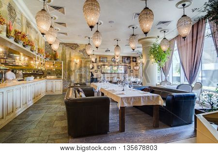 Moscow, Russia - May 20, 2011 - Restaurant interior with served tables