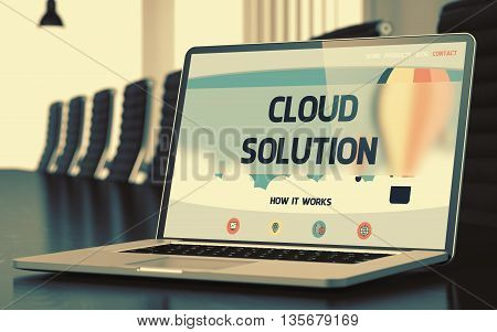 Cloud Solution - Landing Page with Inscription on Laptop Display on Background of Comfortable Meeting Hall in Modern Office. Closeup View. Toned Image with Selective Focus. 3D.