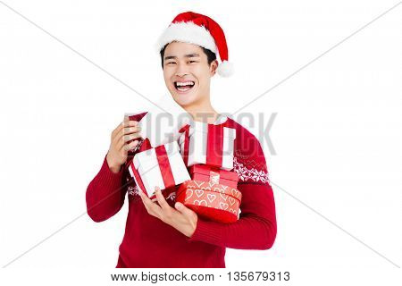 Young man holding gift box isolated on white background