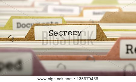 Secrecy Concept on File Label in Multicolor Card Index. Closeup View. Selective Focus. 3D Render.