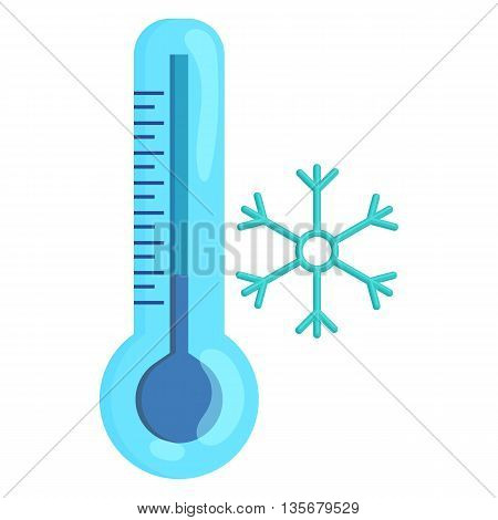 Frozen thermometer and snowflake icon in cartoon style on a white background