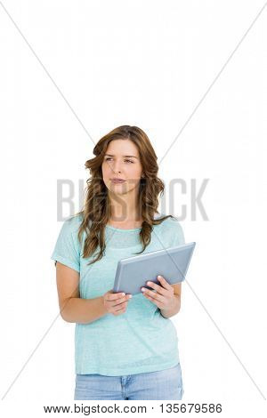 Young woman holding digital tablet on white background