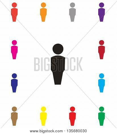 Multicolored flat male one person computer icon symbol females domestic