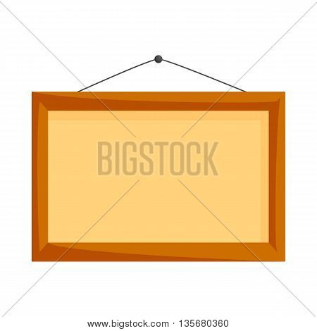 Wooden frame icon in cartoon style on a white background