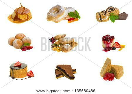 A diverse set of delicious pastries and cakes isolated on a white background. 9 delicate pastries and cakes on a white background