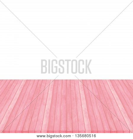 Wooden Floor Texture Background On White, Pink Pastel Colour, Perspective.