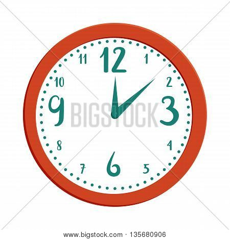Wall clock icon in cartoon style on a white background