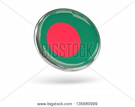Flag Of Bangladesh. Round Icon With Metal Frame