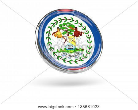 Flag Of Belize. Round Icon With Metal Frame