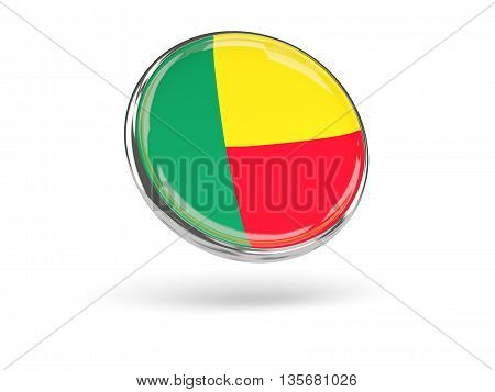 Flag Of Benin. Round Icon With Metal Frame