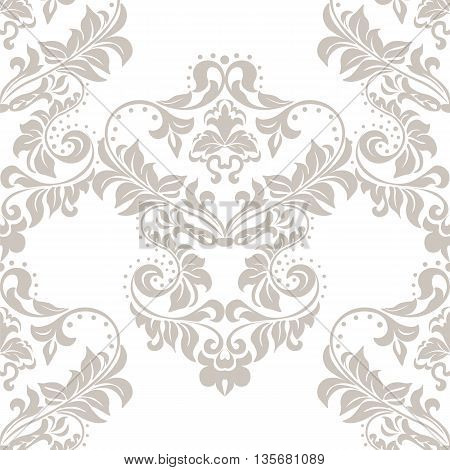 Vector floral damask ornament pattern. Stylized lily flower. Elegant luxury texture for textile fabrics or backgrounds. Taupe color