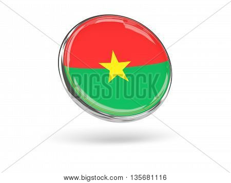 Flag Of Burkina Faso. Round Icon With Metal Frame
