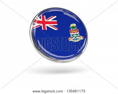 Flag Of Cayman Islands. Round Icon With Metal Frame