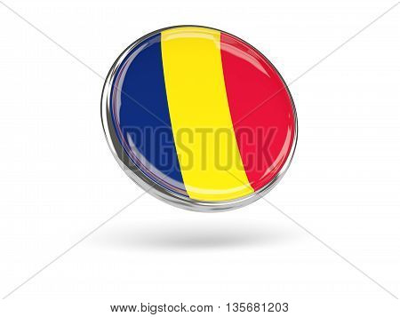 Flag Of Chad. Round Icon With Metal Frame
