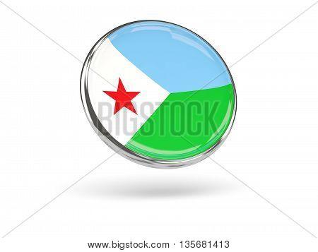Flag Of Djibouti. Round Icon With Metal Frame