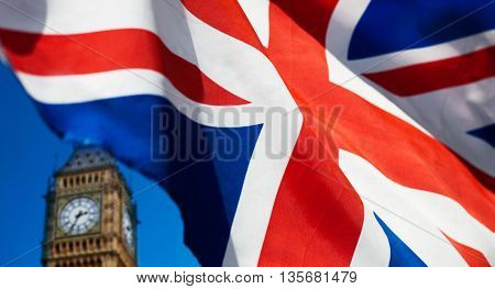 British flag and Big Ben in the background