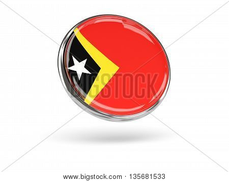 Flag Of East Timor. Round Icon With Metal Frame
