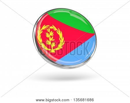 Flag Of Eritrea. Round Icon With Metal Frame