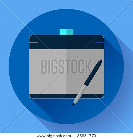 Graphic tablet icon. CG artist and Designer symbol. Flat design style