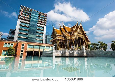 Thailand Pavilion With High Building in Background