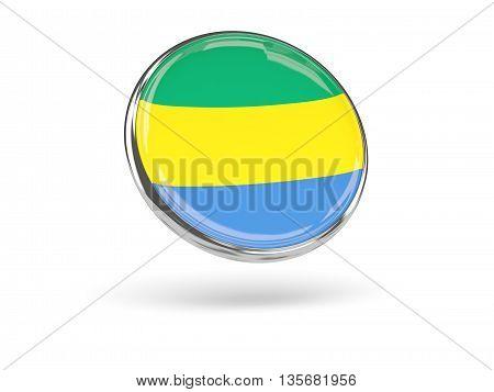 Flag Of Gabon. Round Icon With Metal Frame