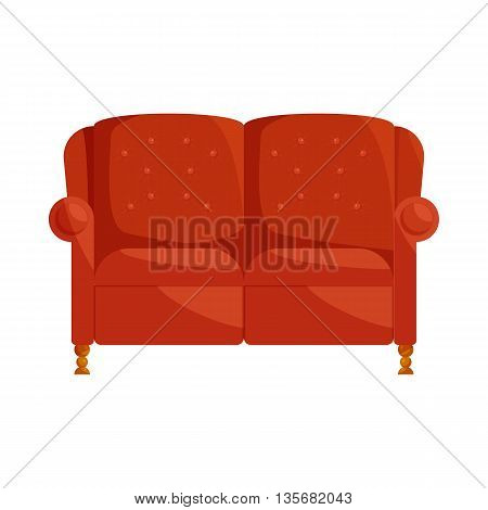 Brown sofa icon in cartoon style on a white background