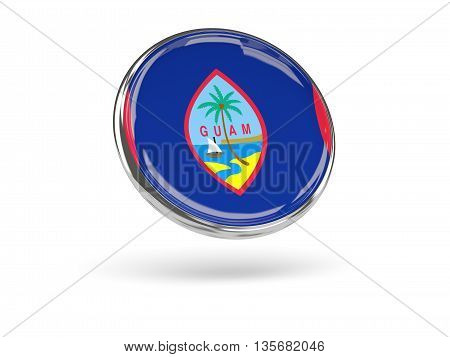 Flag Of Guam. Round Icon With Metal Frame