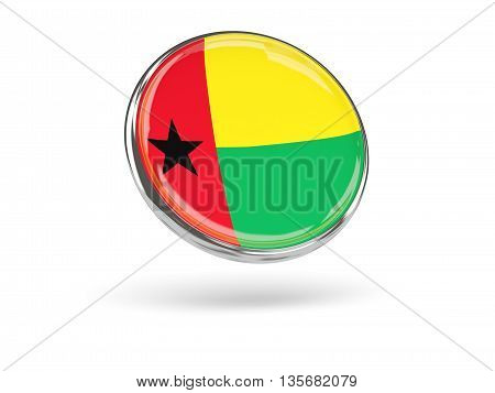 Flag Of Guinea Bissau. Round Icon With Metal Frame