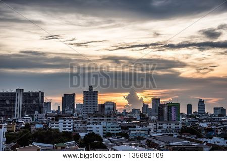 Bangkok in twilight sky from Fortune town- Thailand