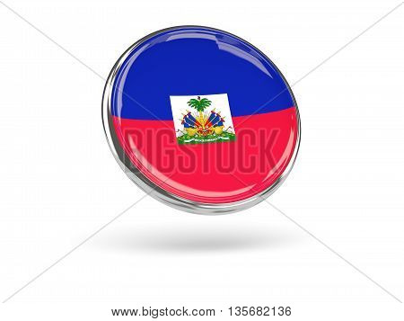 Flag Of Haiti. Round Icon With Metal Frame
