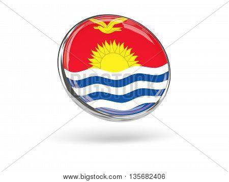 Flag Of Kiribati. Round Icon With Metal Frame