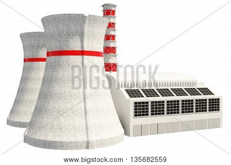 3D Illustration of Nuclear power main building