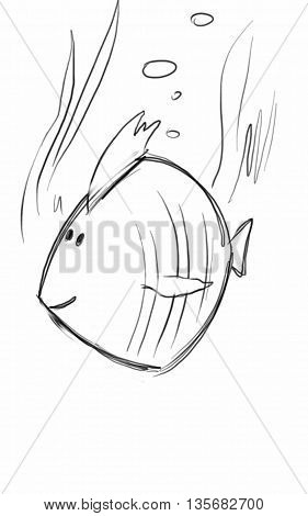 Sketch fish made quickly, simply and concisely.