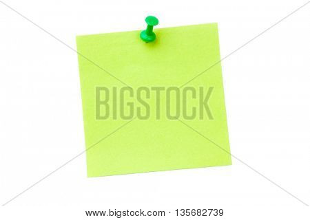Digital image of pushpin on green paper over white background