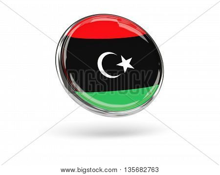 Flag Of Libya. Round Icon With Metal Frame