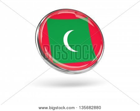 Flag Of Maldives. Round Icon With Metal Frame