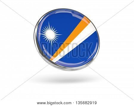 Flag Of Marshall Islands. Round Icon With Metal Frame