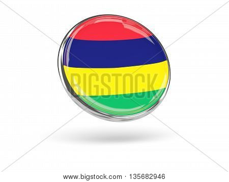 Flag Of Mauritius. Round Icon With Metal Frame