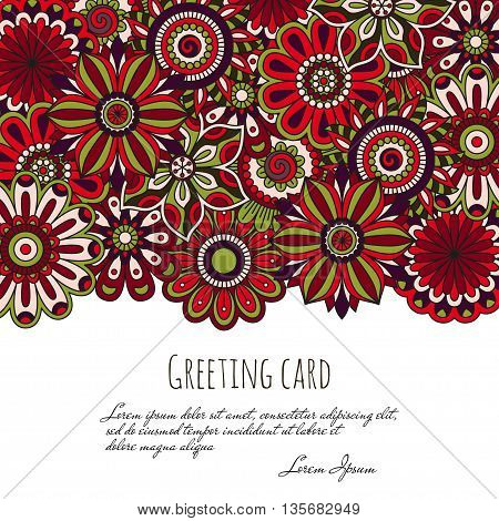 Floral background made of many doodle flowers. Greeting card. Vector illustration.