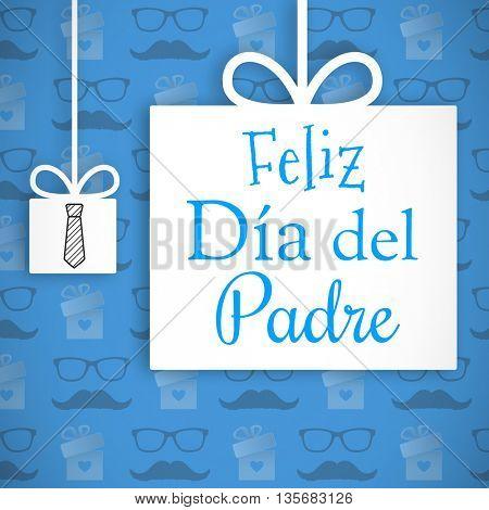 Feliz dia del padre message on blue background